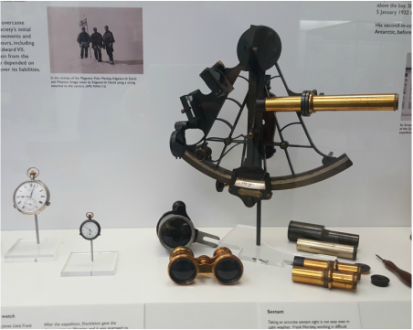 Shackleton's navigational instruments on view at Scott Polar Research Institute. Photo by Mark Brandon, Seb Coulthard Expeditions.